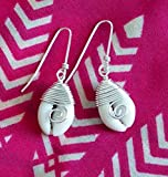 Wire Wrapped Cowrie Shell Earrings, Beach Cowrie Shell Earrings