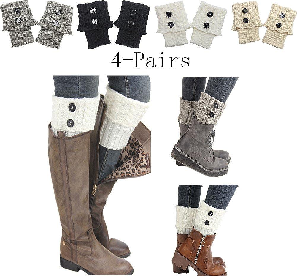 Women 4Pairs Winter Crochet Knit Leg Warmers Girls Boot Cuff Socks Short Leg Warmer