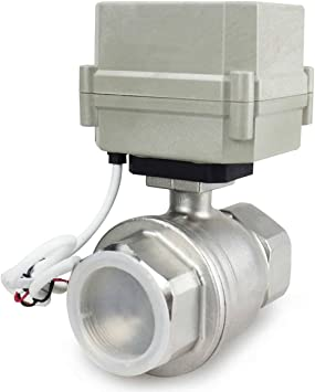 HSH-Flo Stainless Steel 3 Way 110-230VAC 1//2 DN15 CR2-02 2 Wires On//Off Control Electrical Motorized Ball Valve