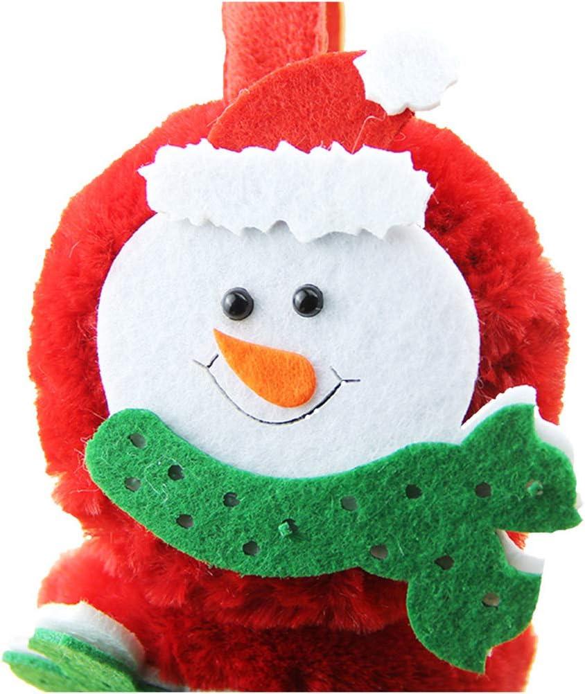 Toyvian Paraorecchie Bambino Regolabili in Peluche con Motivo Pupazzo di Neve Cerchietto Natalizio Rosso