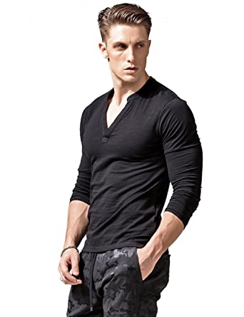 Image Unavailable. Image not available for. Color  XSHANG Mens Deep V Neck  Long Sleeve T Shirts ... bfe206eb7