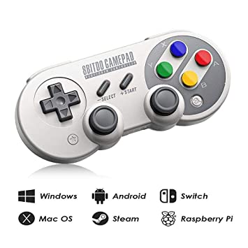 8Bitdo SF30 Pro Wireless Bluetooth Controller with Joysticks Rumble  Vibration USB-C Cable Gamepad for Mac PC Android Nintendo Switch Windows  macOS