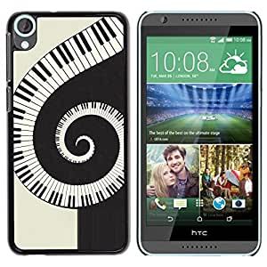 TopCaseStore / la caja del caucho duro de la cubierta de protección de la piel - Music Spiral Piano - HTC Desire 820