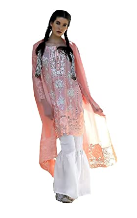 f8572035 Madeesh Pakistani Suit for Women, Self Embroidered Cotton Paki Style Top,  Bottom, Embroidered