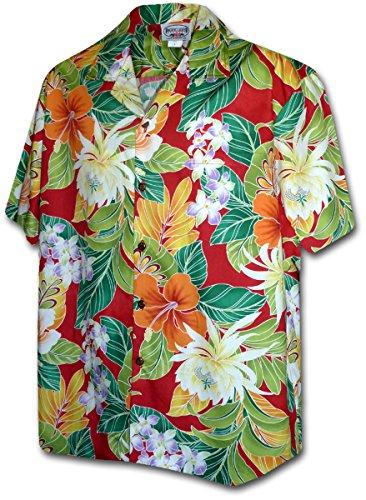 Hawaiian Shirt Hibiscus (Tropical Floral Cereus Plumeria Hibiscus Hawaiian Shirt (XL, Red))