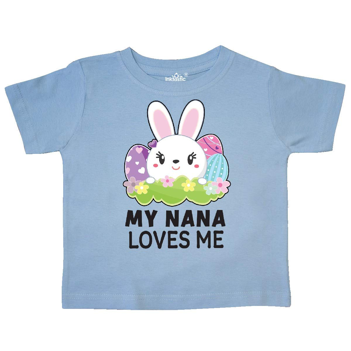 inktastic My Nana Loves Me with Bunny and Easter Eggs Toddler T-Shirt