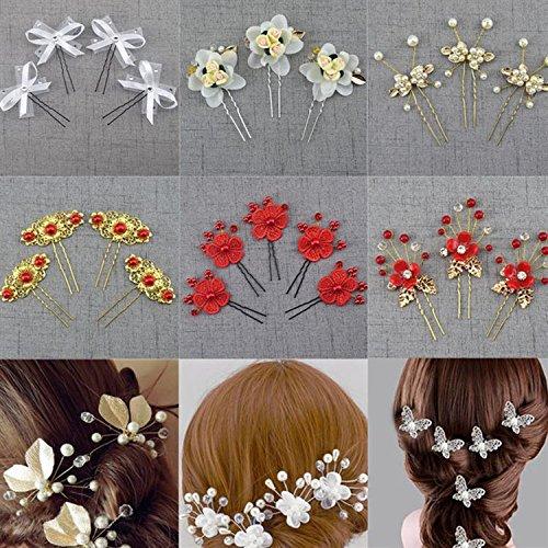 usongs Korean head hair headdress bridal faceplate hairpin-shaped hairpin hairpin hairpin shape and easy install accessories wedding (Install Faceplate)