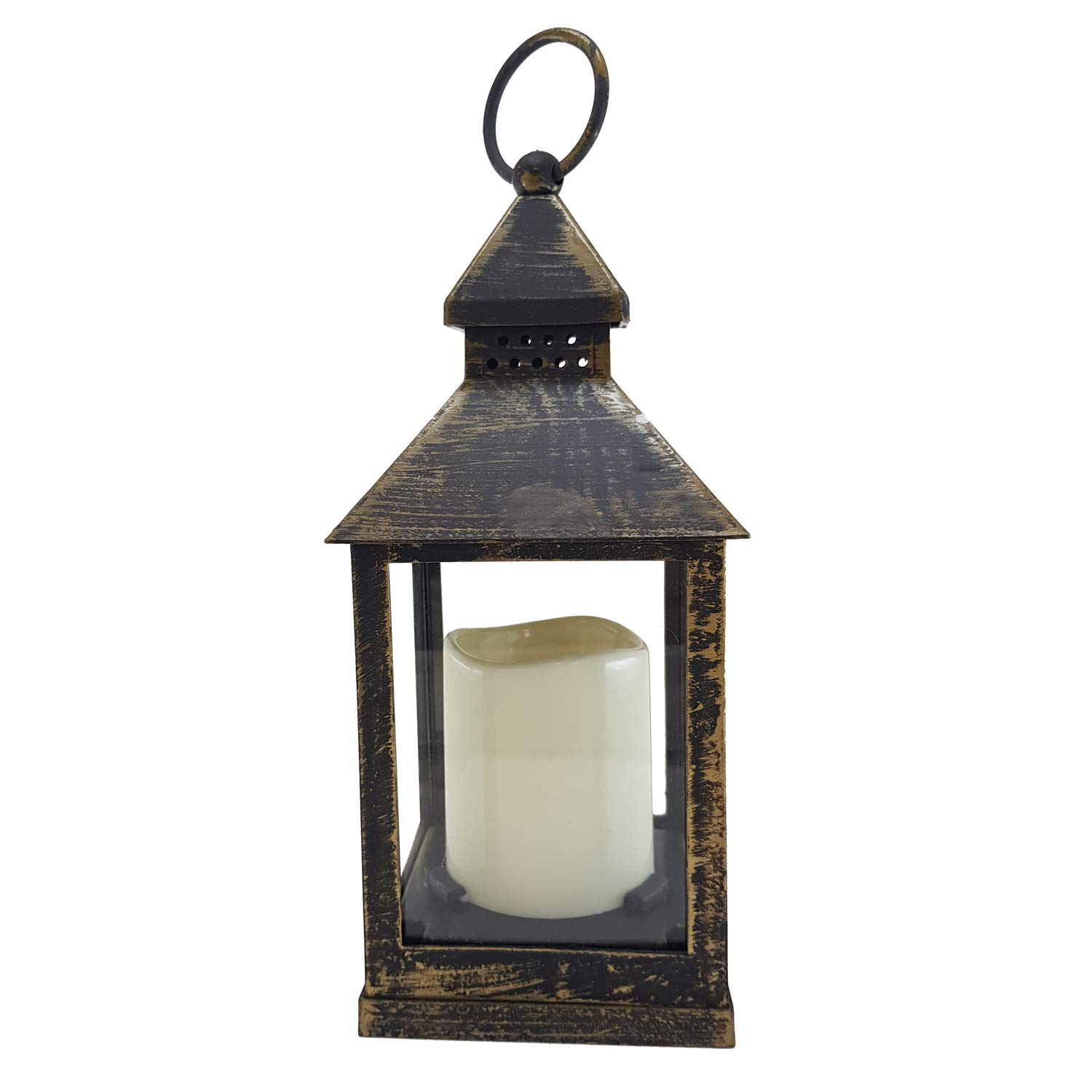 Astin of London 2 Pack Battery Powered Flickering Flame Effect LED Candle Hanging Lantern Antique Black Copper /…