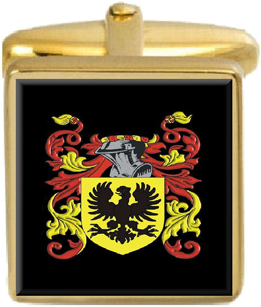 Select Gifts Vinning England Family Crest Surname Coat Of Arms Gold Cufflinks Engraved Box