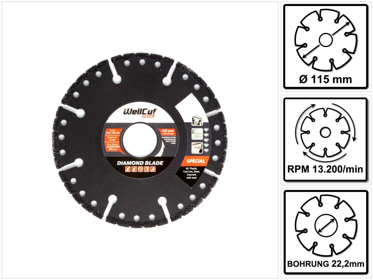 WellCut 333-115/22 Special Plastic Bore Diamond Blade  115 x 22 mm