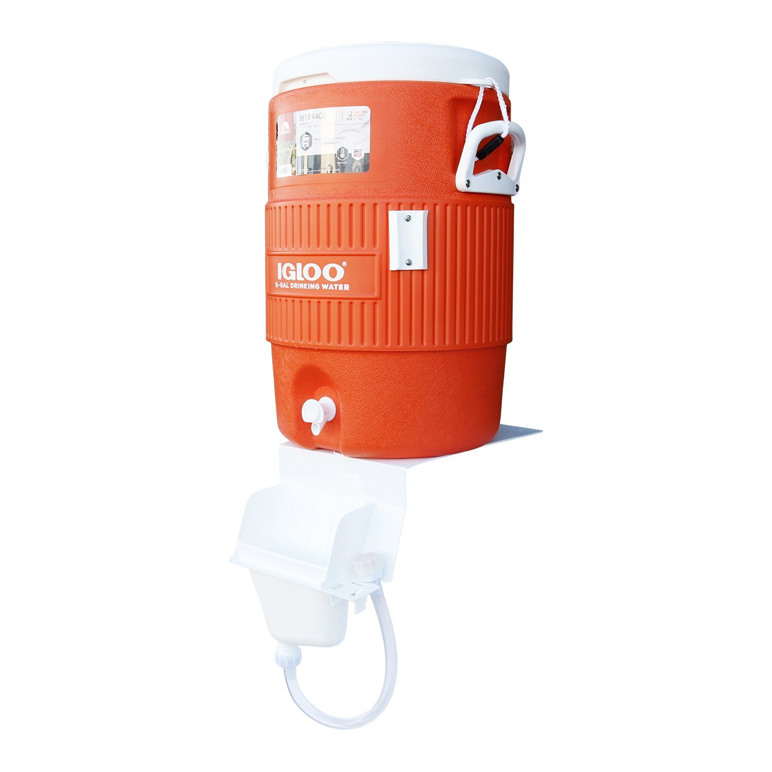 Igloo 5-Gallon Heavy-Duty Beverage Cooler, Orange & Ultimate Drip Catcher Set - White - Catch All Your Drips, Seeps, Leaks Accidental Pours!