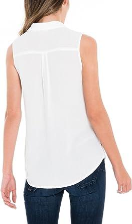 Salsa Camisa Blanca sin Mangas con Encaje: Amazon.es: Ropa y accesorios