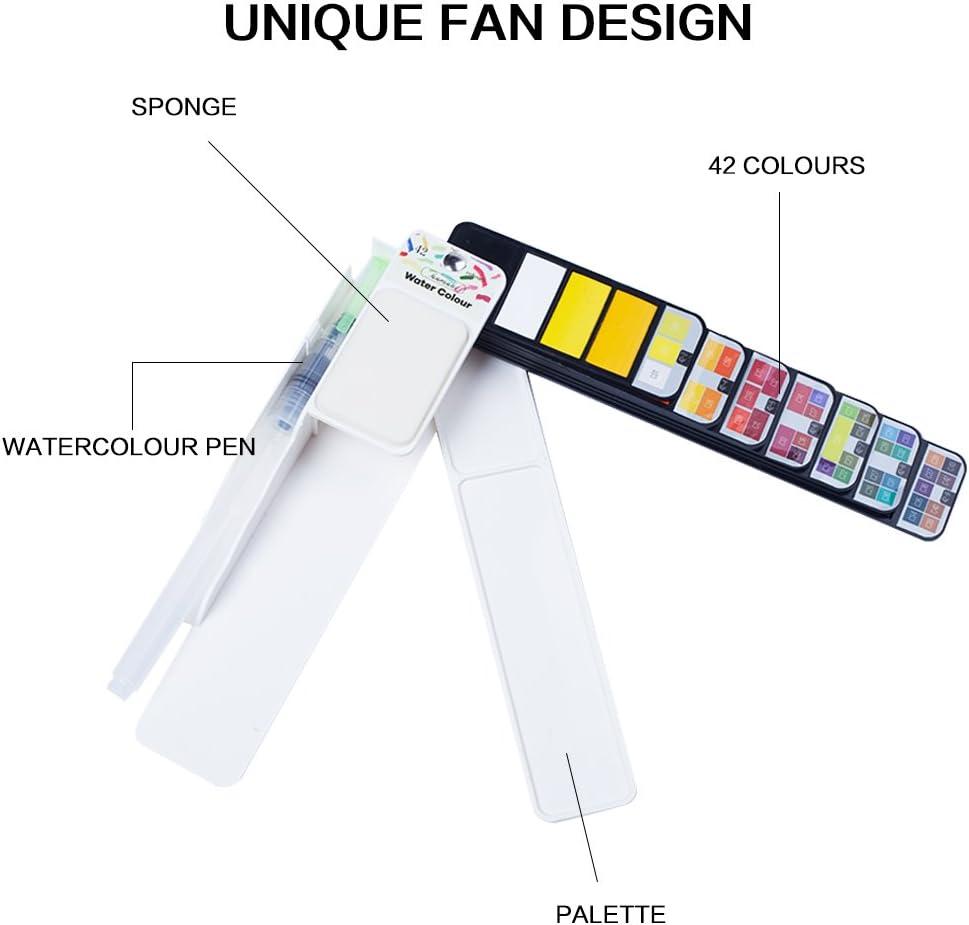 Geeignet f/ür Anf/änger und Profis Fuumuui Art Aquarellfarben Wasserfarben Set-42 lebhafte Farben-Hochwertige Wasserfarben von Sketch Kit
