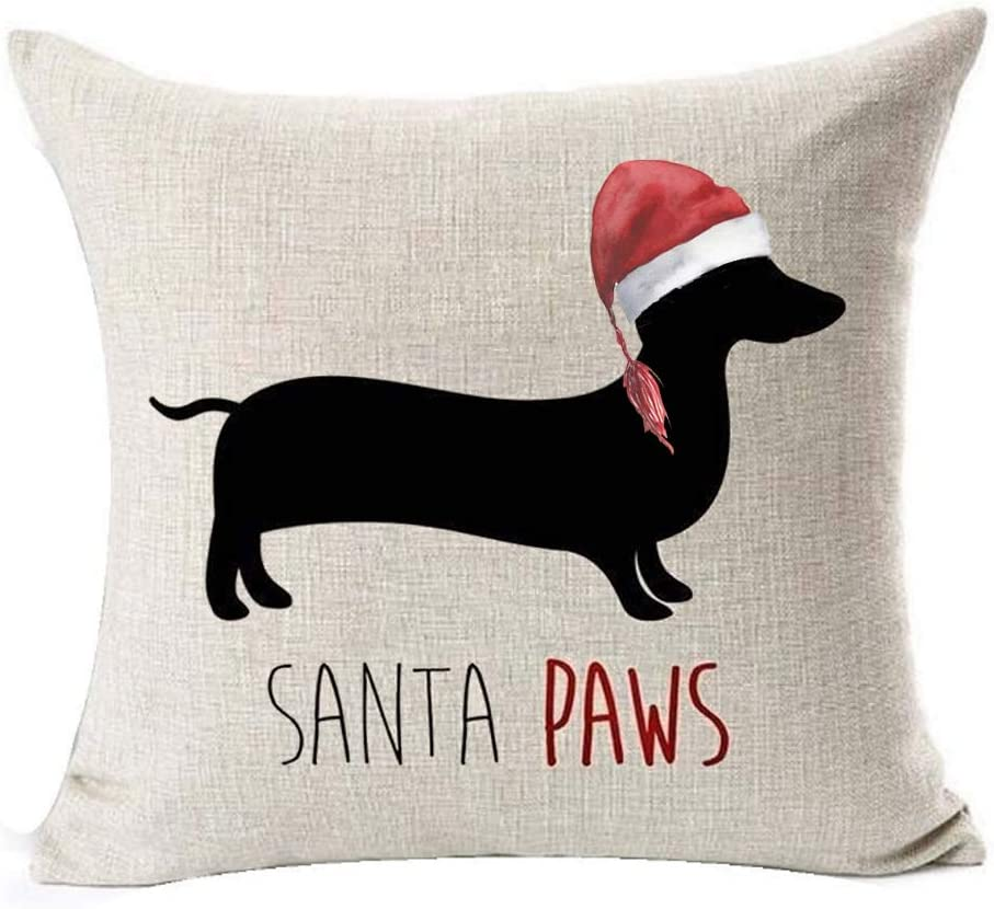 """LYNZYM Merry Christmas Dachshund with Cat Cotton Linen Square Throw Pillow Case Decorative Cushion Cover Pillowcover for Sofa 18""""X 18"""" Halloween Throw Pillow Covers (3)"""