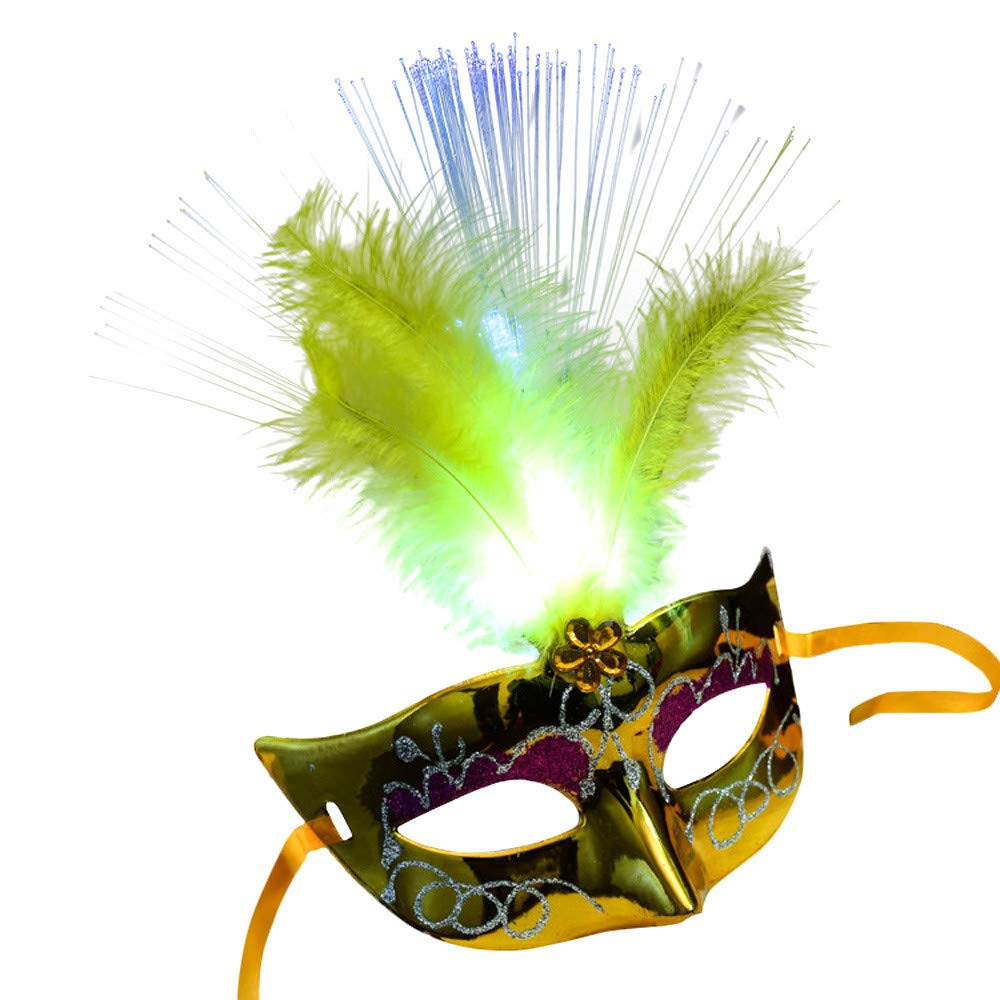 Women Venetian LED Christmas Party Mask,Fancy Dress Party Princess Feather Fiber Masks,Music Party Christmas Halloween Light Up Mask (Yellow)