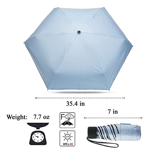 Amazon.com : ximlife Mini Travel Umbrella Compact Ultra Light Sun Rain Golf Outdoor Umbrella with Sleeve Blue : Sports & Outdoors