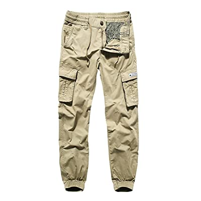 MIS1950s Men's Casual Elastic Waist Drawstring Beach Pant Military Army Cargo Camo Combat Work Pants with Pocket at Men's Clothing store