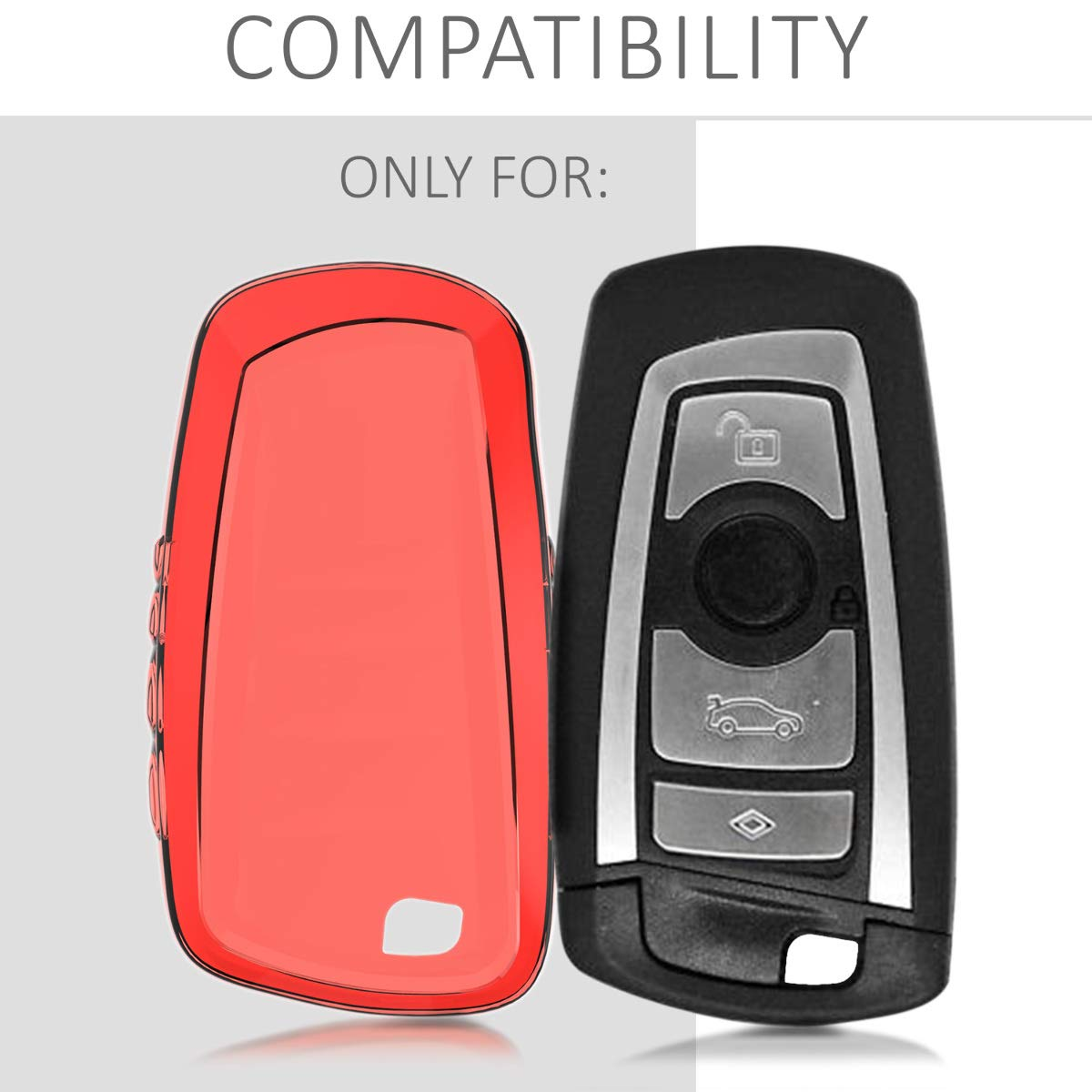 only Keyless Go Soft TPU Silicone Protective Key Fob Cover for BMW 3 Button Remote Control Car Key kwmobile Car Key Cover for BMW - Red High Gloss
