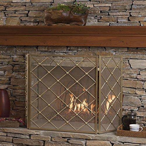 - GDF Studio 301553 Chamberlain 3 Panelled Gold Iron Fireplace Screen,