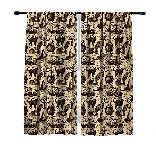 (Misscc Window Curtains, Blackout Curtains for Bedroom Living Room, Sketch Halloween Seamless Pattern with Witch Hat Cauldron Black Cat Bat Pumpkin and Dead Tree, Window Drapes 2 Panels 42 x 63 Inch)