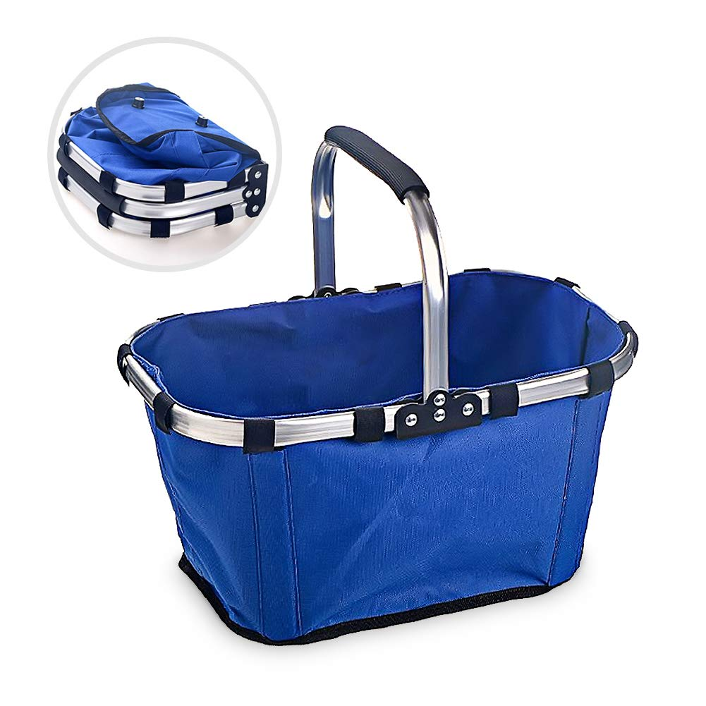 Market Basket, Sarissa Collapsible&Reusable Fabric Picnic Tote Lightweight Basket for Shopping Picnic With Storage Metal Handle Blue