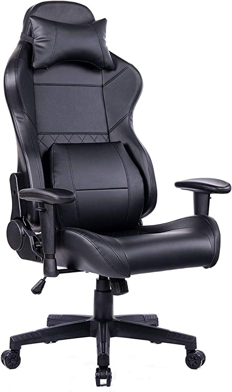 Reclining Gaming Chair With Adjustable Lumbar Pillow And Footrest