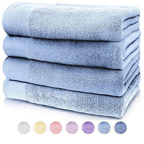 JinaMart Luxury Soft Light Blue Cotton Bath Towels Sets | Highly Absorbent Quick Dry Bath Towel | Pool Towel | Gym Towel | Bathroom Towel Sets | 4 Pack Towel 100% Combed [27.5″ X 55″ (70-140 cm)]