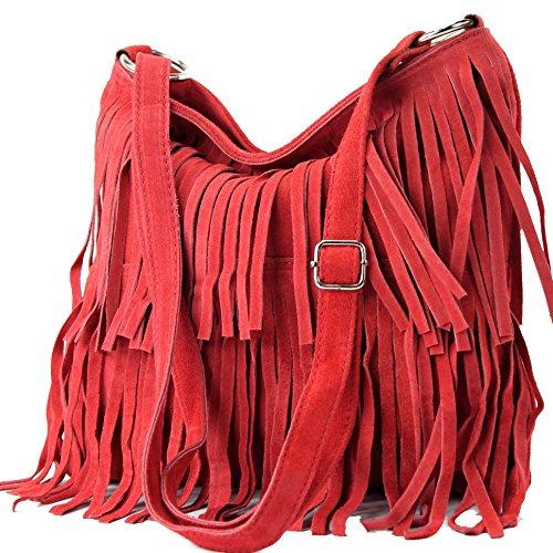 Italian handbag shoulder bag shopper Women's bag real suede leather bag T02 Orient Red