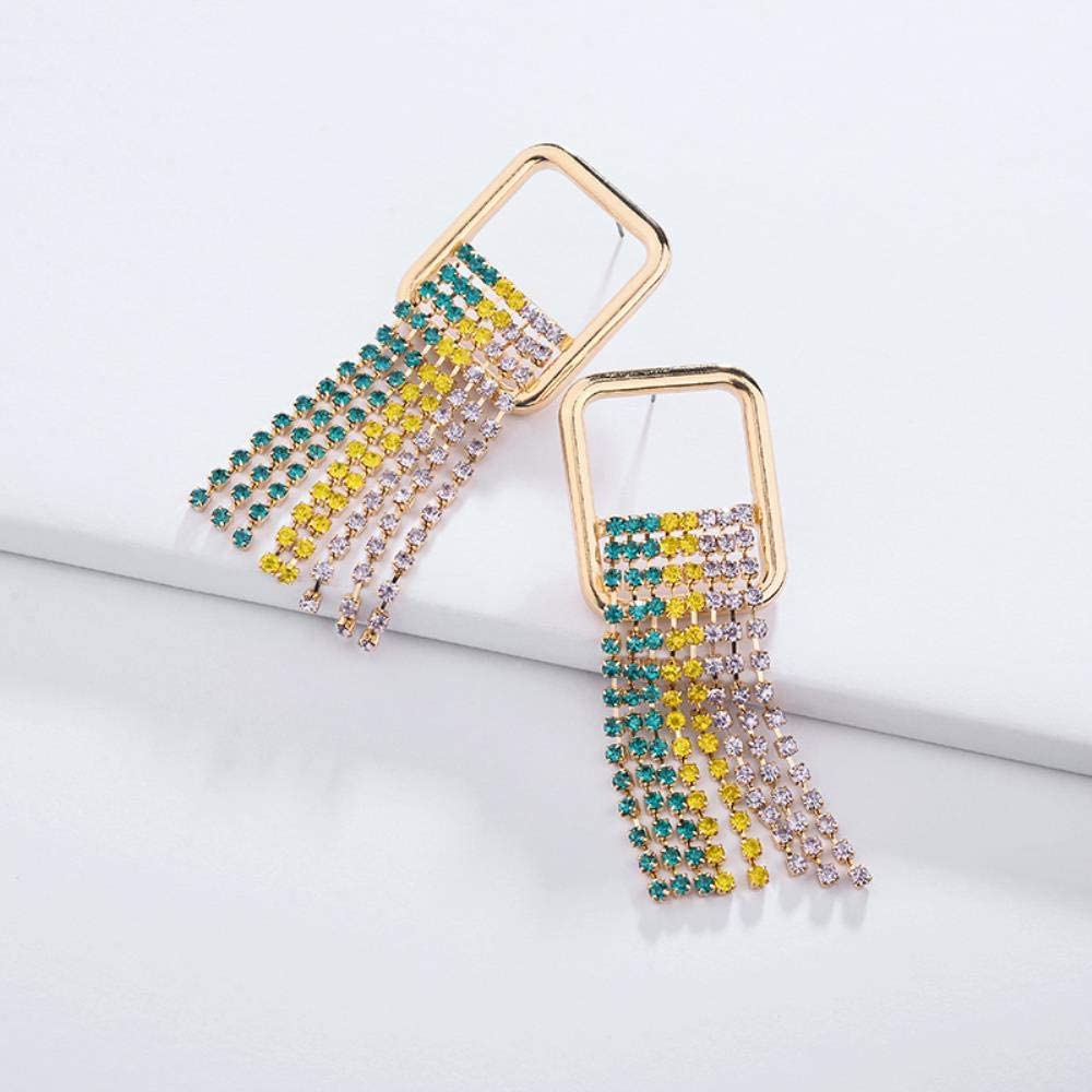 ZNYH Pendientes aleación geométrica Cobre Garra Cadena Piedras Preciosas Color Taladro Borla Pendientes Femeninos Pendientes