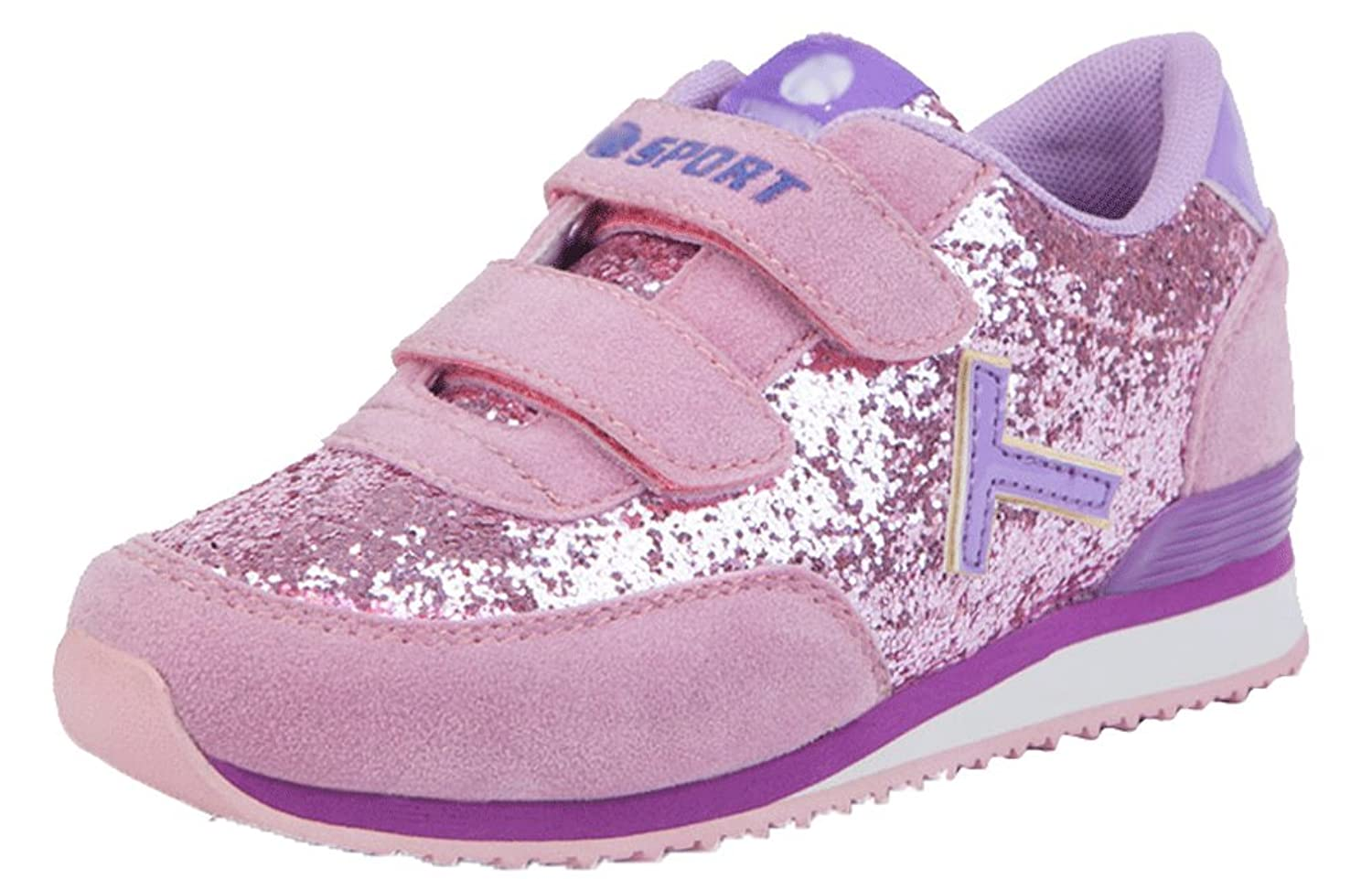 Pointss Girls' La Lovely Flat Leisure Shoes Outdoor Bling Sport Sneakers Sweet Traveling Sport Shoes with Sequins