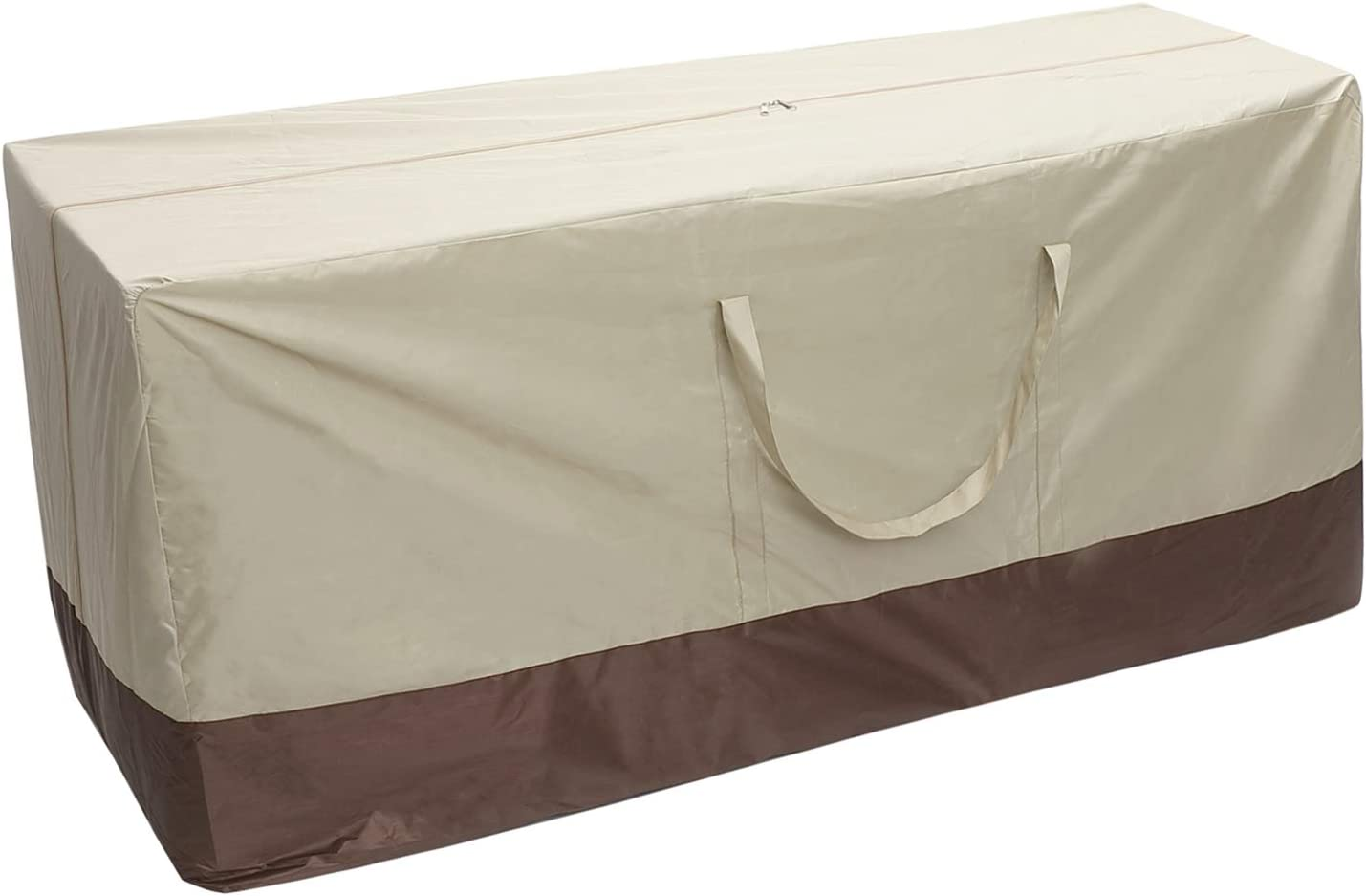 """Cushion Storage Bag Weather Resistant Outdoor Patio Furniture Cover with Handles Protective Zippered Xmas Tree Storage Bag (60"""" Lx28 Hx20 W, Beige)"""