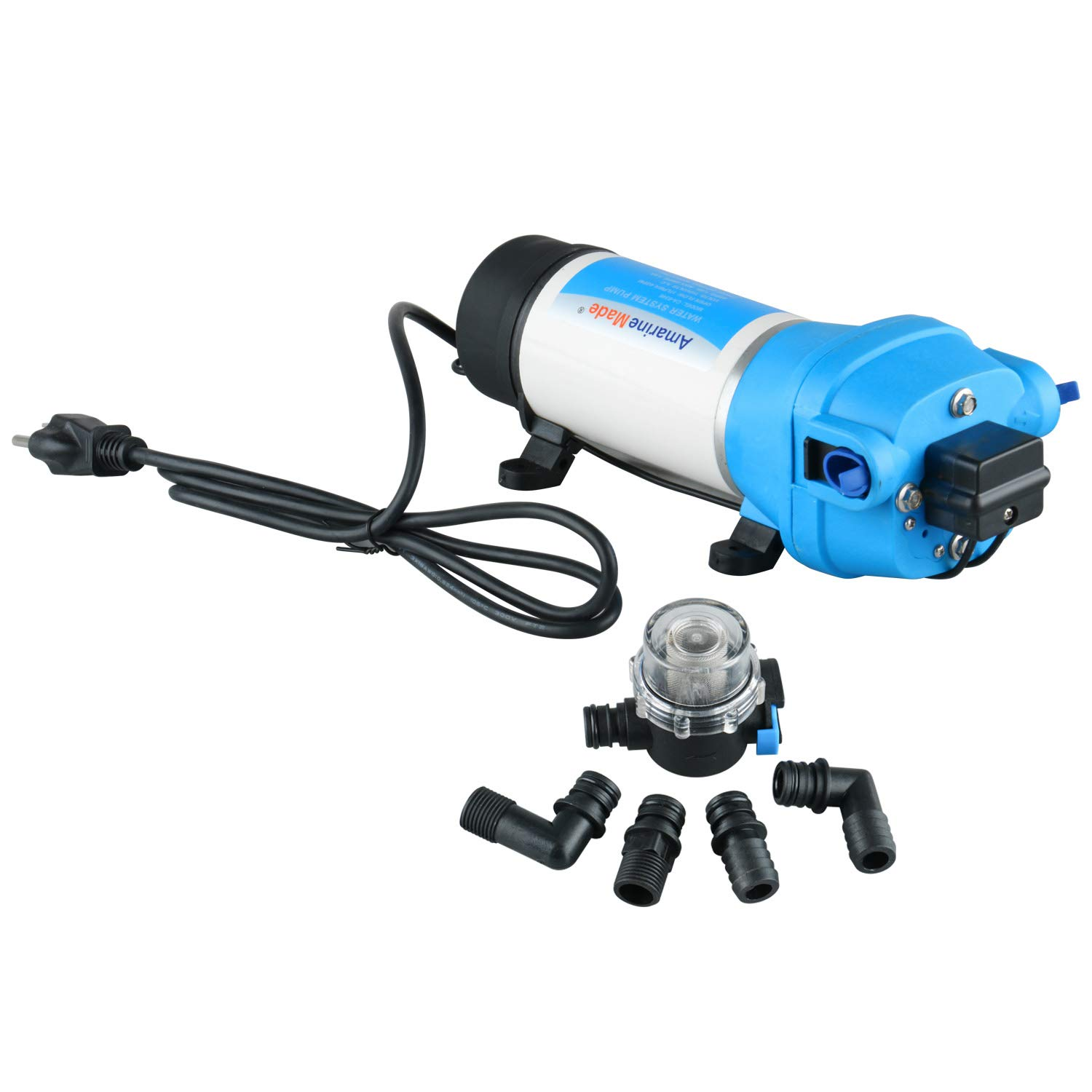 Amarine Made AC 110V Self Priming Water Pressure Diaphragm Pump 17LPM/4.5GPM AMPS:1.0A,MAX.AMPS:1.8A Press Setting:40PSI/2.8bar Caravan/RV/Boat/Marine by Amarine Made