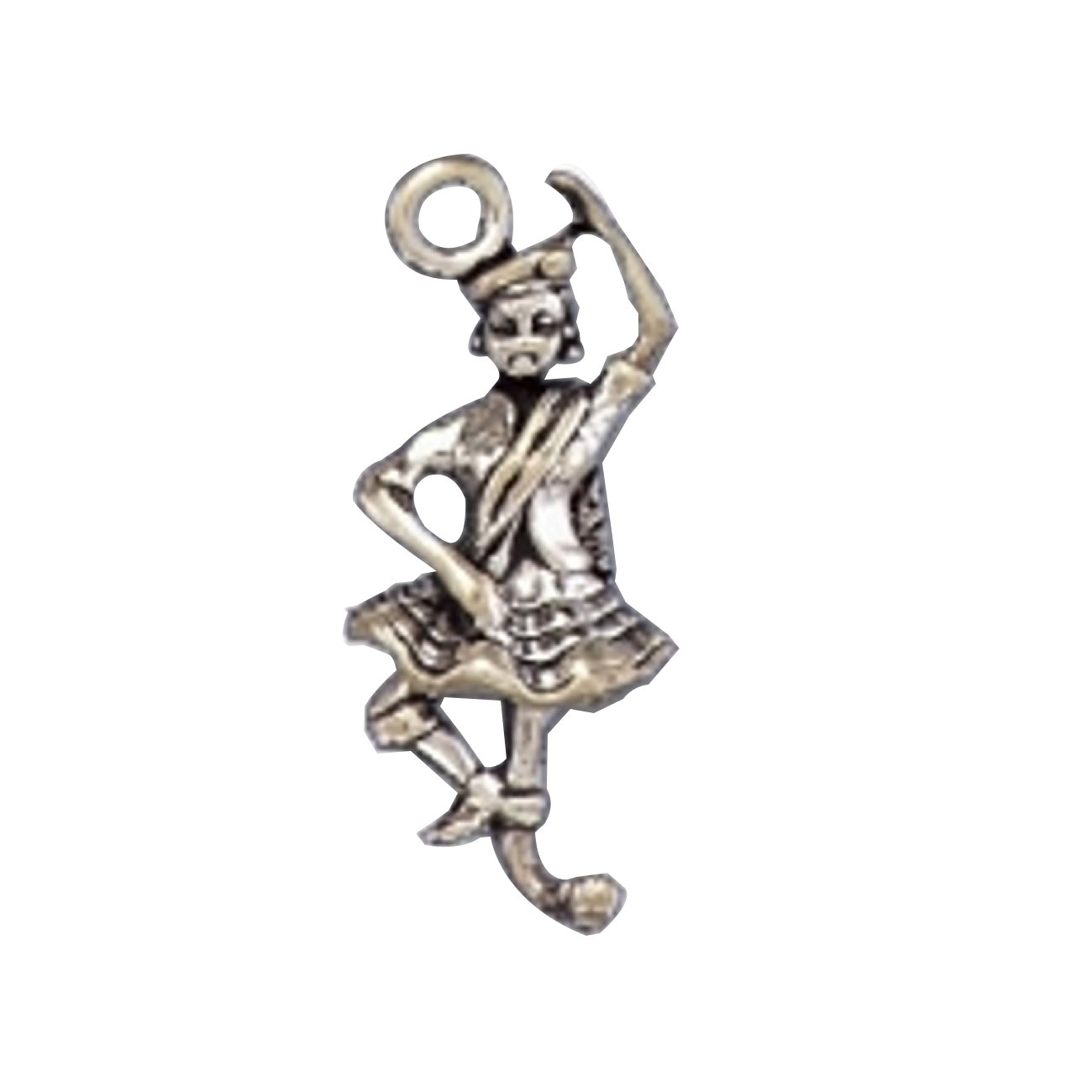 Sterling Silver Womens 1mm Box Chain 3D Dancing Scotsman Wearing Plaid Arm Raised Pendant Necklace