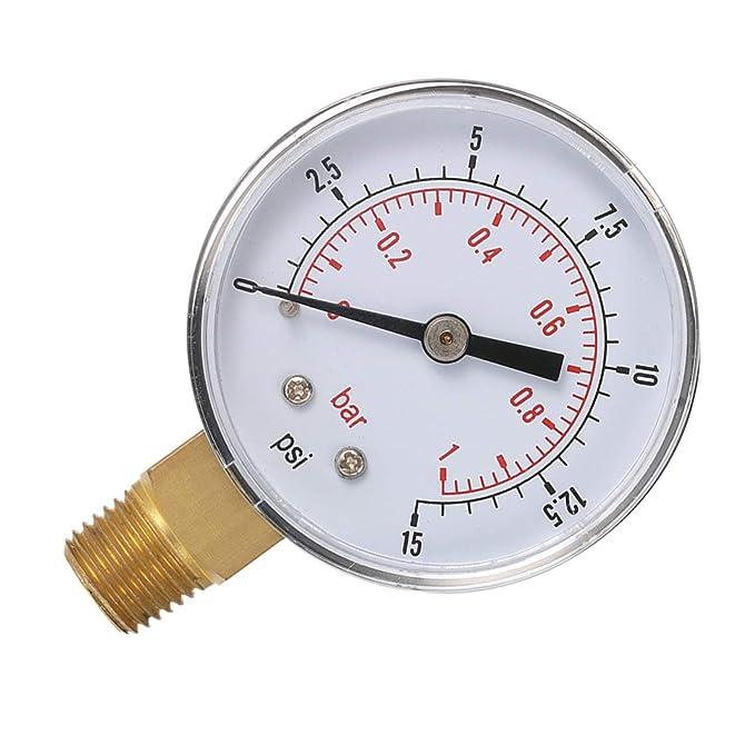 aceite o agua 50 mm 0-15 PSI 0-1 Bar 1//4 pulgada BSPT TS-50 Medidor de doble escala aire Medidor de baja presi/ón Pudincoco Mini para combustible