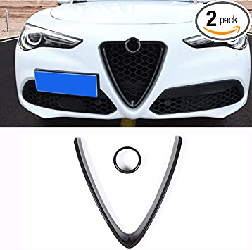 Car Front Grill Cover Trim Bumper Grill Protective Frame Cover Interior Black Grille Trim Molding for A lfa R omeo Giulia 2016-2018