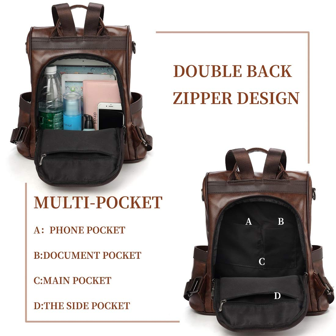 Zicac Womens Leather Backpack Purse Casual Daypack Fashion Anti-theft Rucksack Shoulder Bag for Ladies