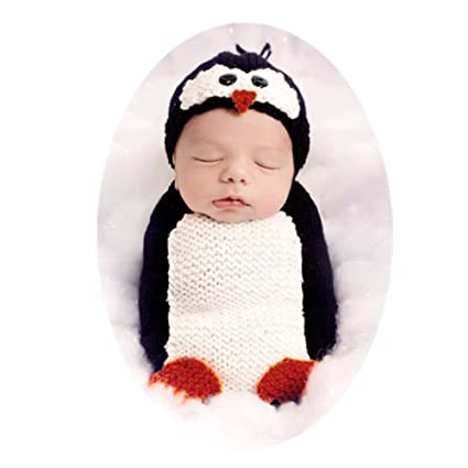 108814ec6 Amazon.com: Coberllus Newborn Baby Photo Shoot Outfits Crochet Clothes  Costume Knitted Hat Lovely Penguin Sleeping Bag Photography Props: Toys &  Games