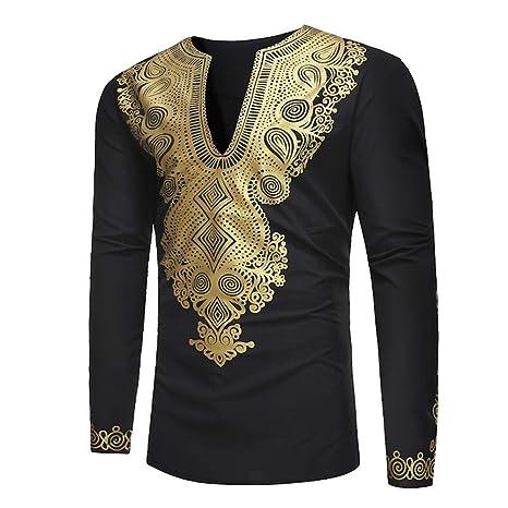 GreatestPAK Herren Männer Dashiki Tops Afrikanischen Ethnischen Stil Gold Print Shirt Langarm Bluse