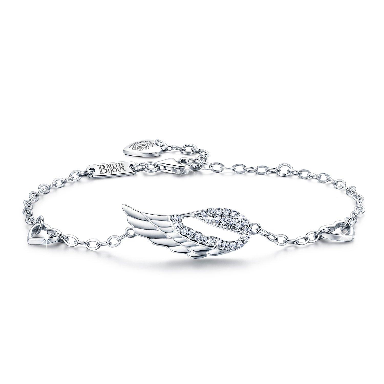 Billie Bijoux 925 Sterling Silver Women Angel Wing Adjustable Chain Bracelet Diamond White Gold Plated Bracelet Women Gift for Women, Girls, Mom