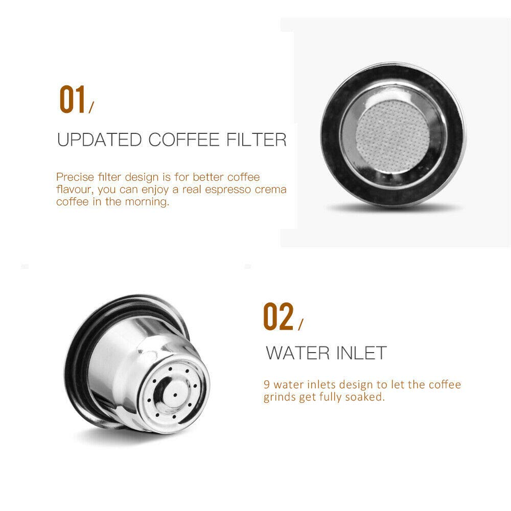 C/ápsulas Nespresso Capsulas Filtro Recargables de Cafe de Acero Inoxidable capsulas Reutilizables para maquinas Nespresso