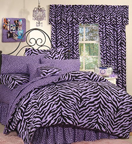 (Purple Zebra 6 Pc EXTRA LONG TWIN Comforter Set, One Matching Shower Curtain and Set of (Two) Matching Window Valance/Drape Sets; Entire Set Includes: (Comforter, 1 Flat Sheet, 1 Fitted Sheet, 1 Pillow Case, 1 Sham, 1 Bedskirt, 1 Shower Curtain, 2 Valance/Drape Sets) SAVE BIG ON BUNDLING! )