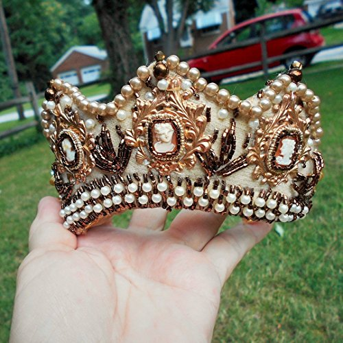 Modest TIARA? Celebrate Crown, Queen for a Day, 3 Hand Carved Shell Cameos, Pearls Gold Beads, Bronze Bugles, Settings, Crystals by EMENOW