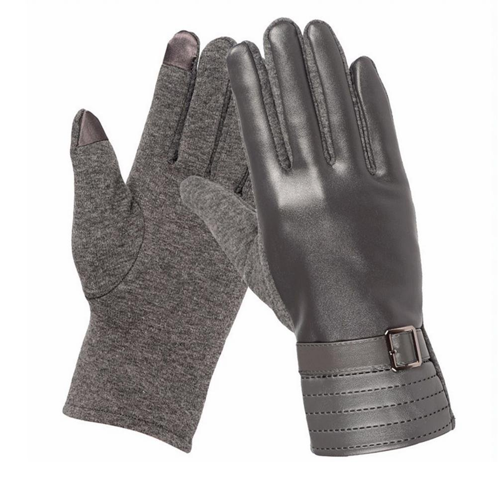 YANXH Leather Touch Screen Gloves Men Women Riding Keep Warm Plus Cashmere Gloves