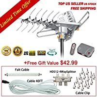 LAVA HD2605 Remote Controlled Rotation Long Range outdoor HD TV 4K TV Antenna Top Rated + Installation Kit