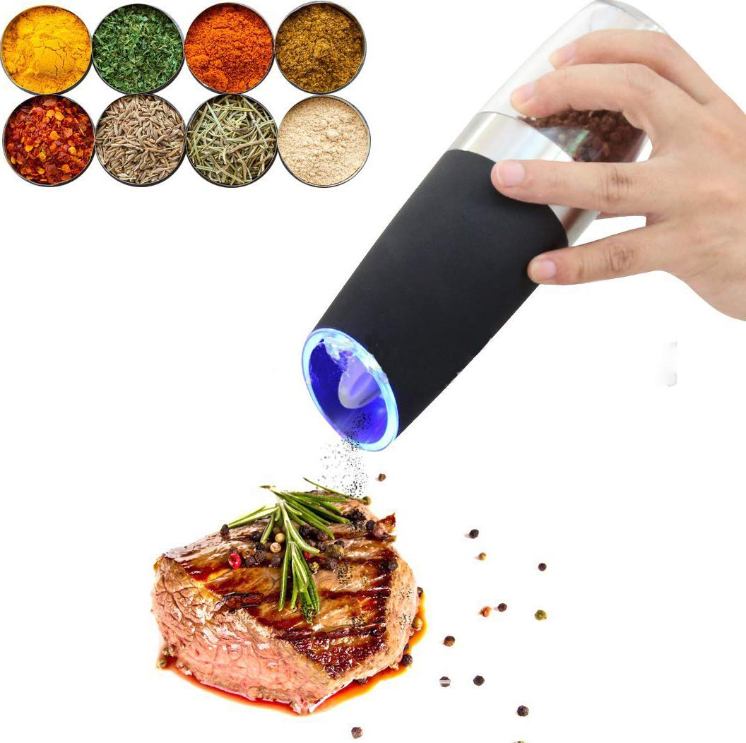 Automatic Battery Powered Pepper Mills with Blue LED Light Adjustable Grind Coarseness Gravity Bekith Electric Salt Pepper Grinder