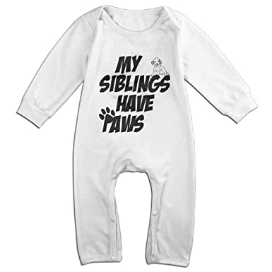 1067cf14bec5 Newborn Child Baby Boy Girl Popular My Siblings Have Paws Cotton Onesies  Baby One-Pieces