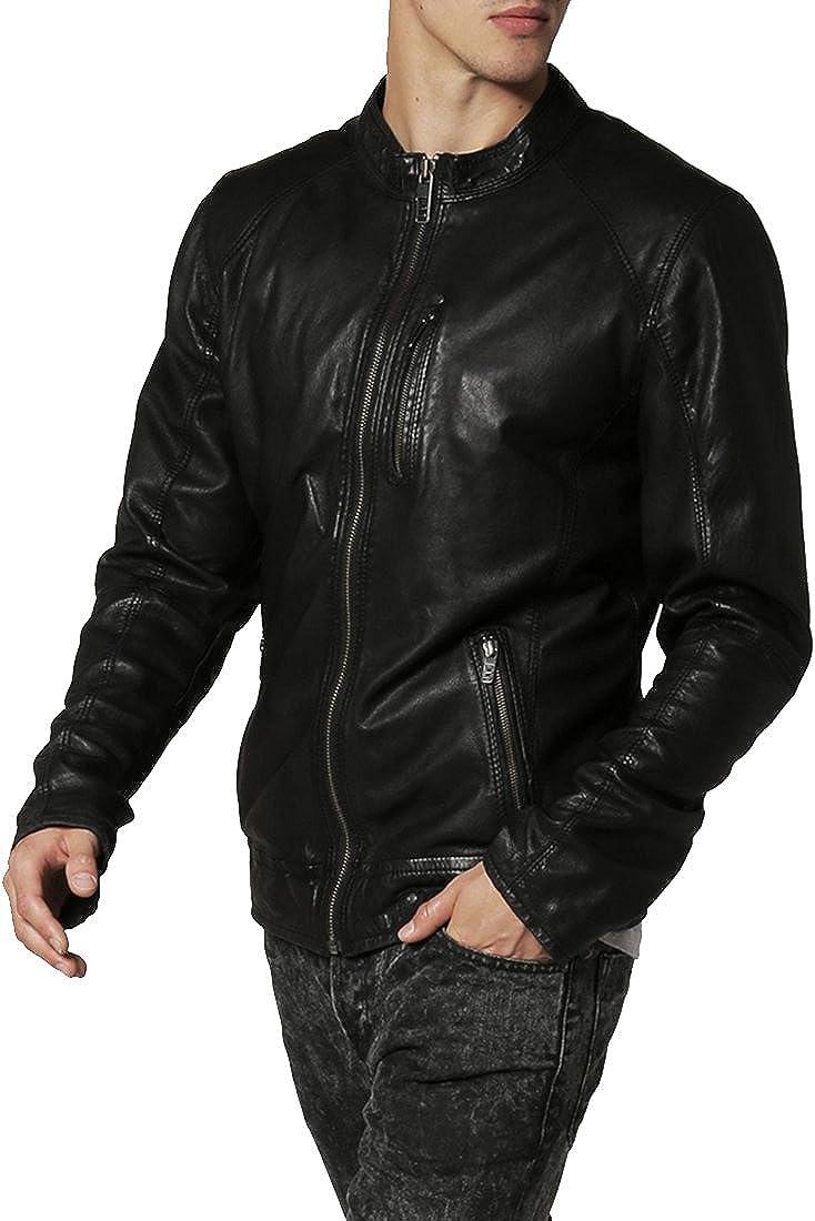 Mens Genuine Lambskin Leather Jacket Slim fit Motorcycle Jacket P153