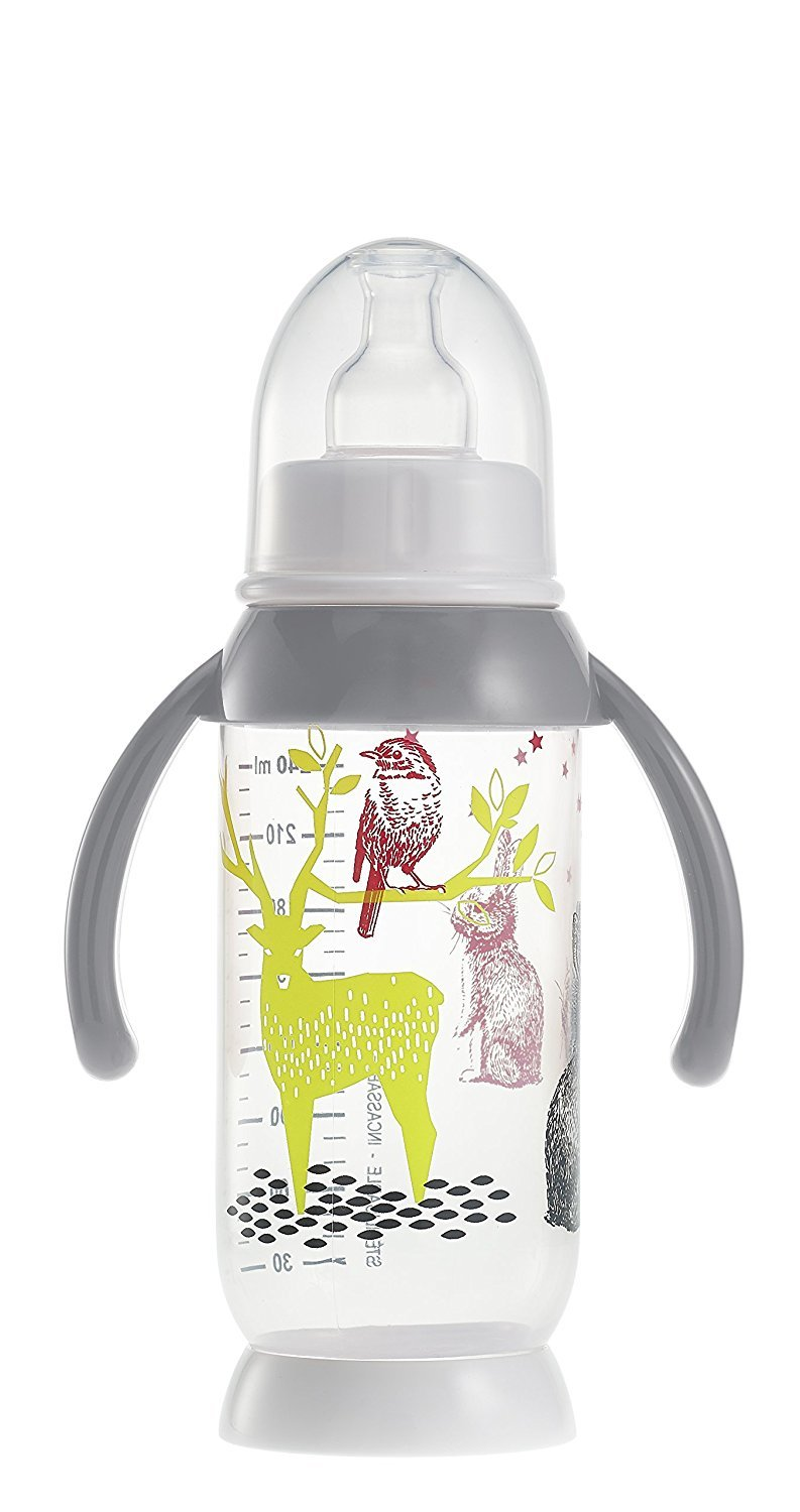 BEABA Unbreakable Bottle with Rounded Base and Removable Handles (240 ml, Bunny Grey) 911573