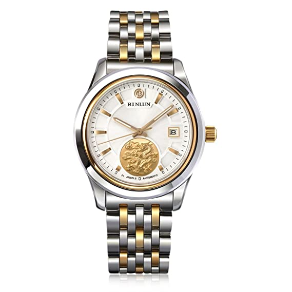 binlun Mens oro tono impermeable automático relojes mejor regalo Zodiac Reloj de lujo para hombre