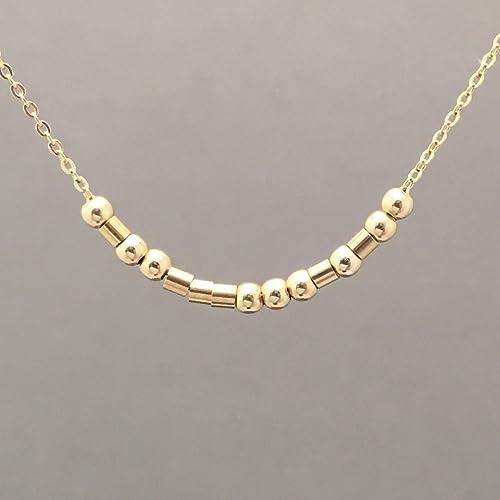 3f434bee366e6 Amazon.com: Custom FINE CHAIN Small Bar Gold Fill Morse Code ...
